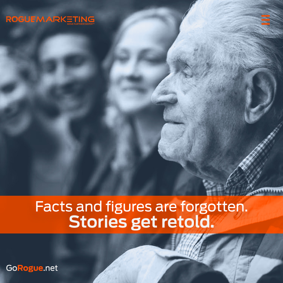 storytelling over facts rogue marketing quotables
